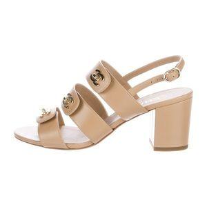 Chanel turnlock CC block heel sandals